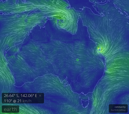 Open Source Earth Wind Patterns Cyclone Marcia Openstem Pty Ltd